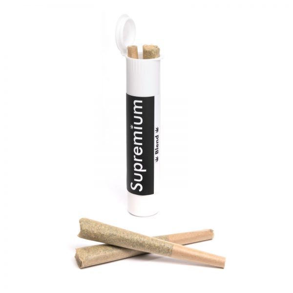 Supremium pre rolled joints, cannabis blend in tubes from online dispensaries